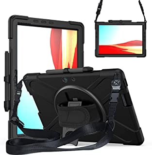 Fegishilly Case with Pencil Holder for Surface Pro X, Stand, Hand Strap and Shoulder Belt for Surface 13 inch Tablet, Heav...