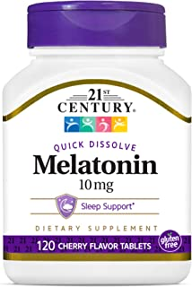 21st Century Melatonin Quick Dissolve Tablets, 10 mg, Cherry 120 Count