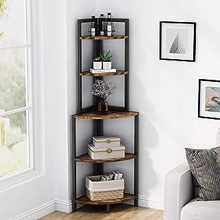 Étagère d'angle étagère de rangement étagère bibliothèque support de plante unité d'organisation 5 niveaux industriel pour...