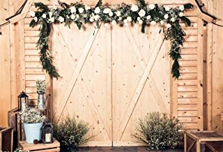 CSFOTO 10x7ft Background Flower Decorated Door Wedding Ceremony Photography Backdrop Wedding Party Decor Rustic Wood Retro Lantern Romantic Propose Celebration Photo Studio Props Vinyl Wallpaper