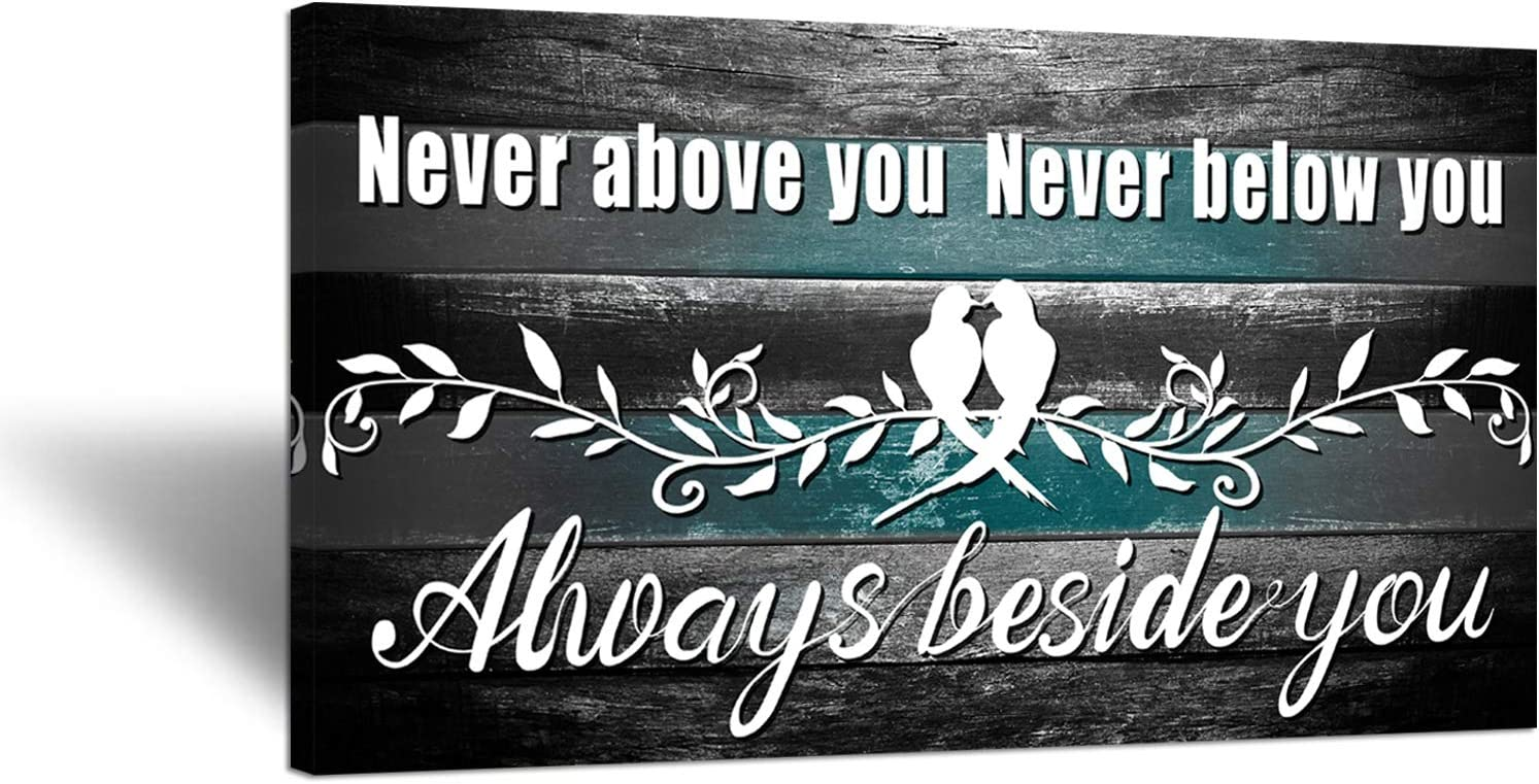Zlove Love Birds on Tree Branch Canvas Wall Art Never Above You Never Below You Always Beside You Rustic Motivational Inspirational Quote For Bedroom Home Decor Ready to Hang 20x36inch