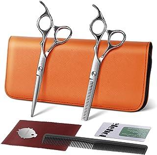 ELEHOT - Tijeras profesionales para peluquería - Kit de tijeras para entresacar y cortar - Lisas de acero inoxidable de 17...
