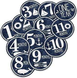 Baby Monthly Stickers - Nautical Milestone Month Sticker for Onesie or Scrapbook - Twelve 4