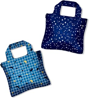 Moss Rose Reusable Recycled Grocery Shopping Bags Foldable Machine Washable Waterproof Totes Eco-Friendly 2 Packs