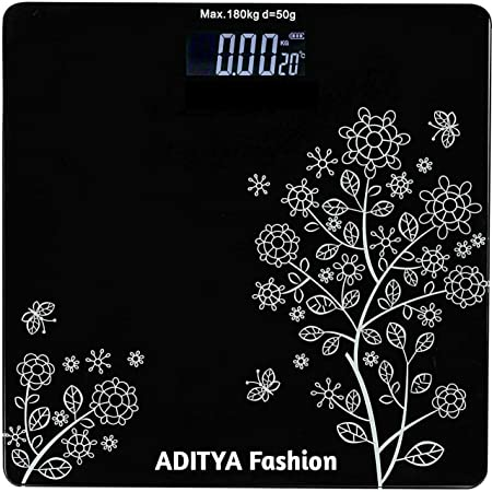 ADITYA fashion® Electronic Thick Tempered Glass & LCD Display Digital Personal Bathroom Scale, Home Medical Supplies & Equipment, Weight Scale For Human Body ( Flower Design )