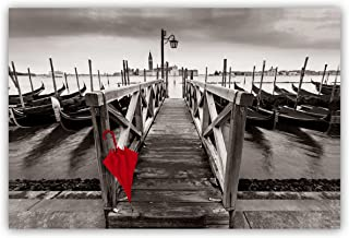 "Studio 500 Museum Grade Canvas Art - The Red Umbrella at The Pier in Venice, Italy in Black, White, Red: 48""x32 High Resolution Giclee Printing on Canvas Wrap, Cityscapes Collection, E1295-1"