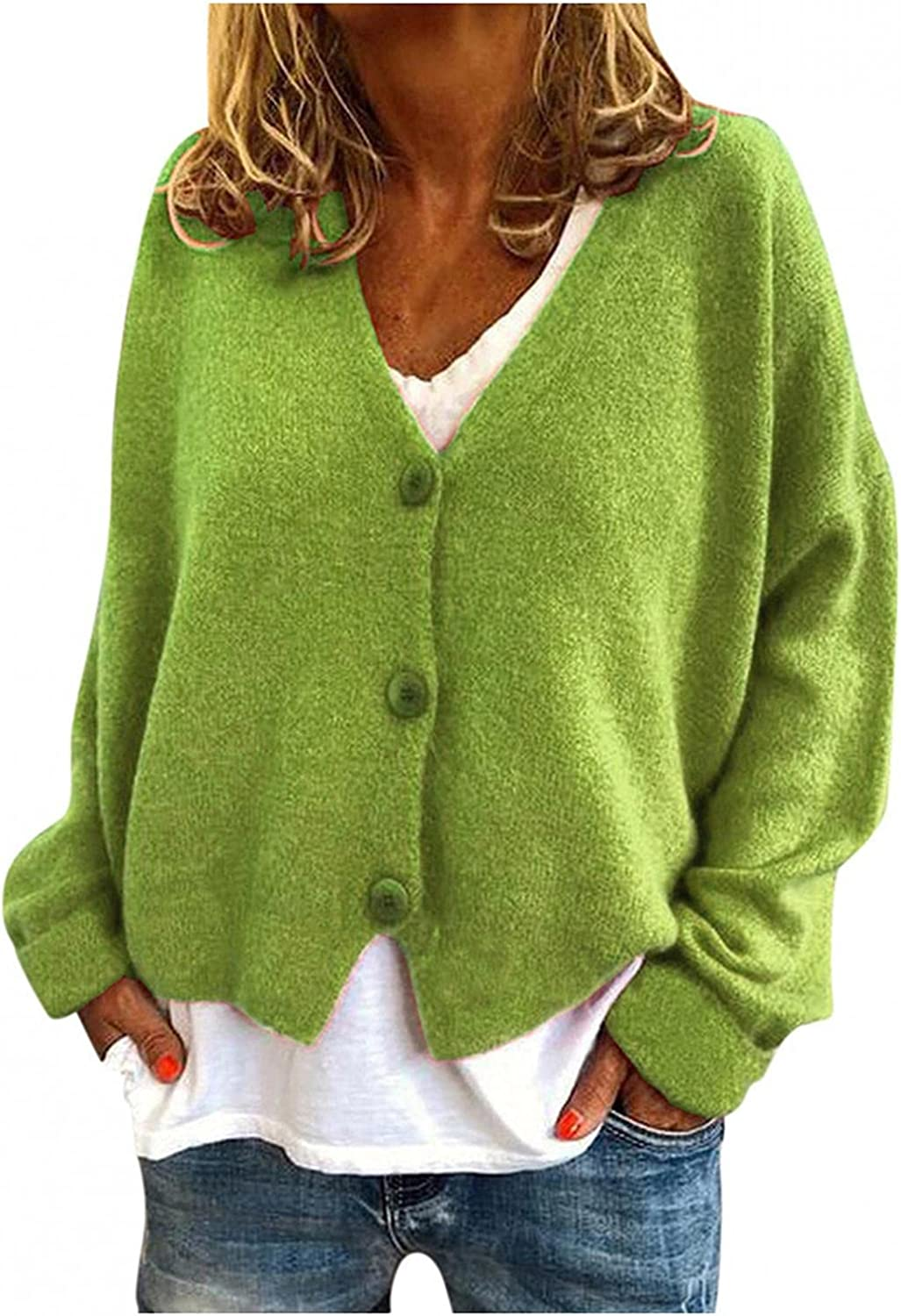 Cardigan for Womens Sweater Coat Long Sleeve Solid Color Button Autumn Fleece Casual Jacket Blouse Tops