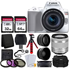 $659 Get Canon EOS Rebel SL3 Digital SLR Camera (White) + EF-S 18-55mm f/4-5.6 IS STM Lens + 58mm 2X Professional Telephoto & 58mm Wide Angle Lens + 32GB & 64GB Memory Card + Case + Tripod + 3 Piece Filter Kit