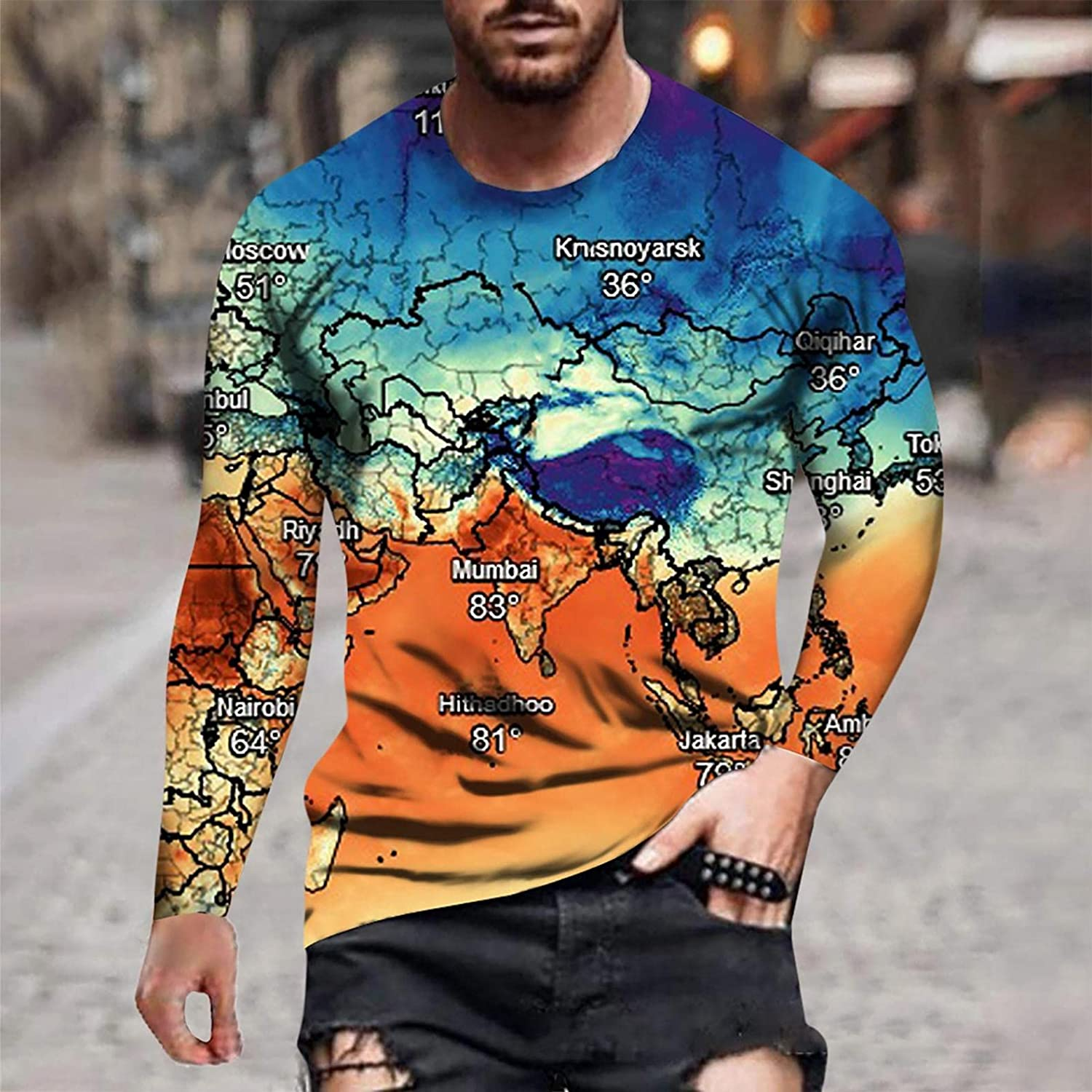 Long Sleeve Tee Shirts for Men Casual Muscle Crewneck Sweatshirt Casual Tie dye Graphic ASport Pullover Tee Shirts