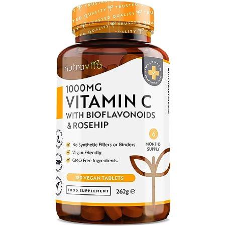 Vitamina C 1000mg con Bioflavonoidi e Rosa Canina - Fortifica e Rafforza il Sistema Immunitario - 180 Compresse Vegane - Fornitura Per 6 Mesi - Prodotto nel Regno Unito da Nutravita