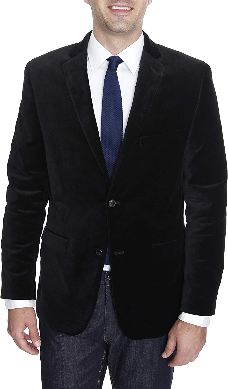 Mens Solid Black Velour Two Button Cotton Blazer Sportcoat