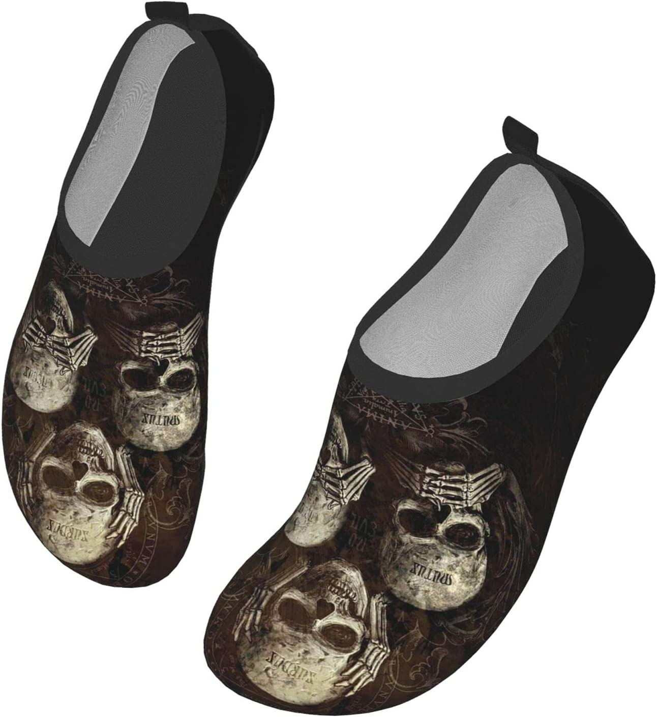 Womens Mens Summer Water Shoes No Evil Listen See Speak Skull Barefoot Shoe Quick Dry Aqua Socks