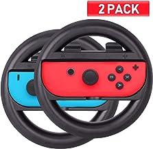 ABMSNO Racing Games Steering Wheel Grip-Suitable for Nintendo Switch Mario Kart, Joy-Con Steering Wheel, Black & Black (Ki...