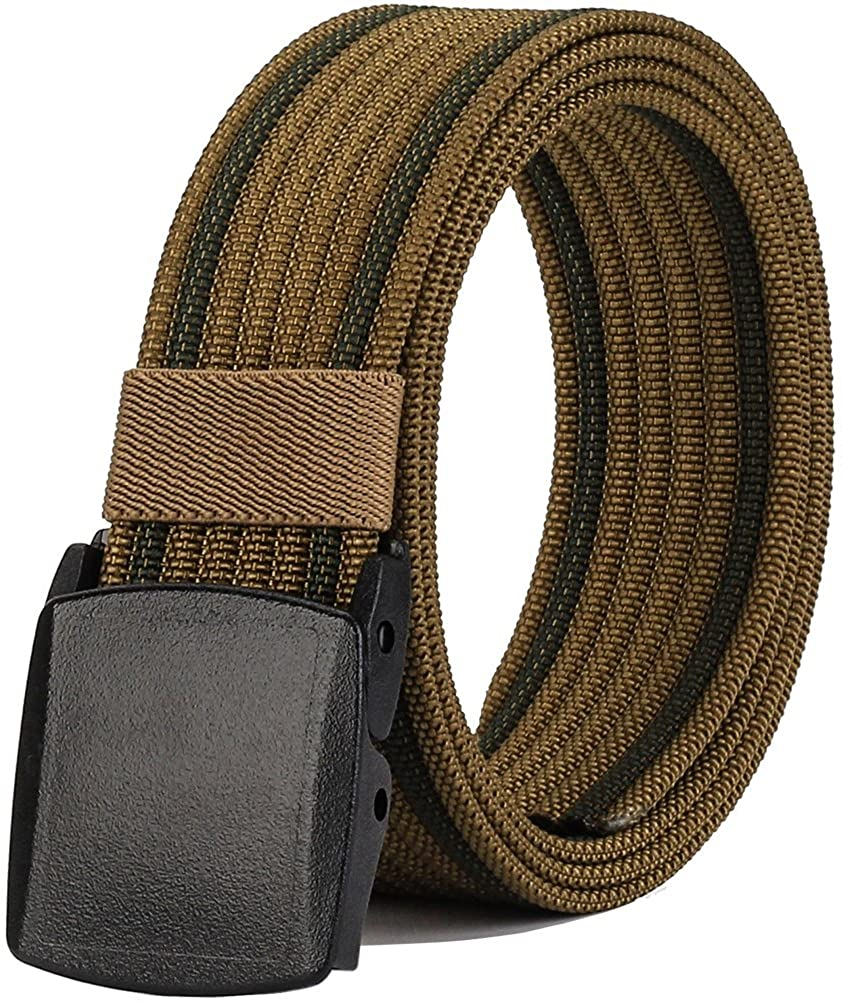 Nylon Belts Men, Military Tactical Belt with YKK Plastic Buckle, Durable Breathable for Outdoor Duty [53