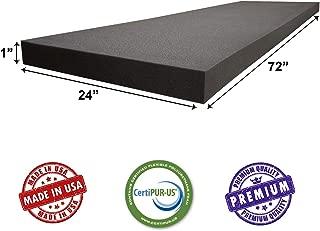 AKTRADING CO. CertiPUR-US Certified Charcoal Rubber Foam Sheet Cushion (Seat Replacement, Upholstery Sheet, Foam Padding, Acoustic Foam Sheet) - 1