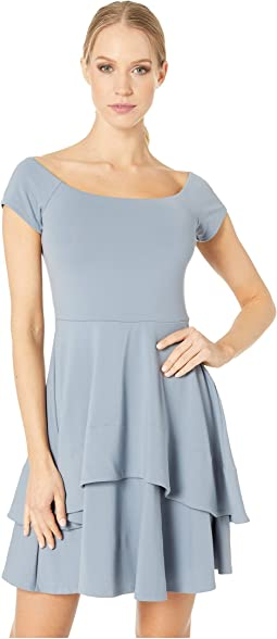 Double Layer Flare Off Shoulder Dress