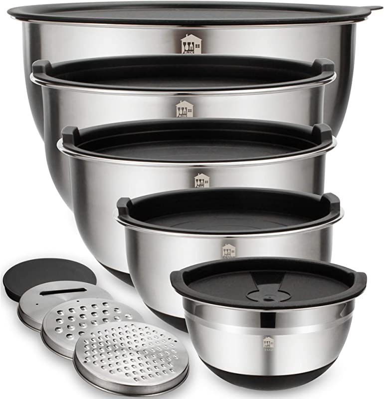Mixing Bowls Set Of 5 Wildone Stainless Steel Nesting Bowls With Airtight Lids 3 Grater Attachments Measurement Marks Non Slip Bottoms Size 5 3 2 1 5 0 63 QT Great For Mixing Serving