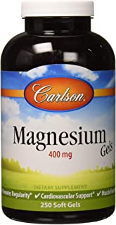 Carlson - Magnesium Gels, 400 mg of Magnesium per Softgel, Heart & Muscle Support, Magnesium Gel Caps, Bowel Function, Mag...