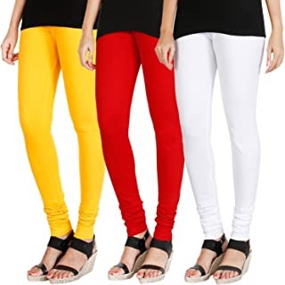 Swastik Stuffs Women's Cotton Lycra Leggings Combo Offer for Women (SSLRWY3_Red,White,Yellow_Free Size)(Pack of 3)