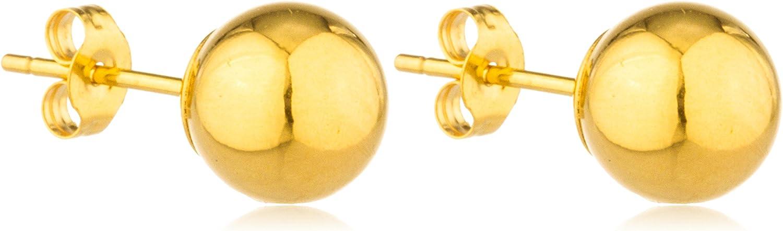 14k Gold Ball Earrings with Matching 14k Pushbacks (FH-DTD7-12EV)