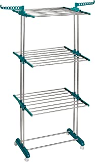 Amazon Brand - Solimo 3 Level Cloth Drying Stand with Wheels