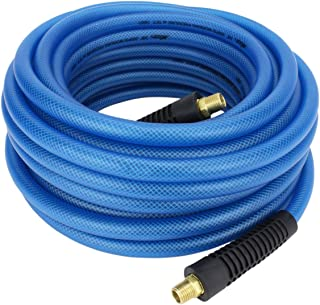 "Milton (1624-2) FLEX HOSE Lightweight braided ""polyurethane"" hybrid air hose 50 ft. x 3/8"" ID, 200 PSI with ¼"" MNPT brass fitting , Blue"
