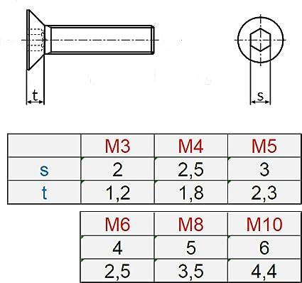 10 Senkkopfschrauben mit Innensechskant Edelstahl M 10 x 55 mm Vollgewindeschrauben Schrauben DIN 7991 A2