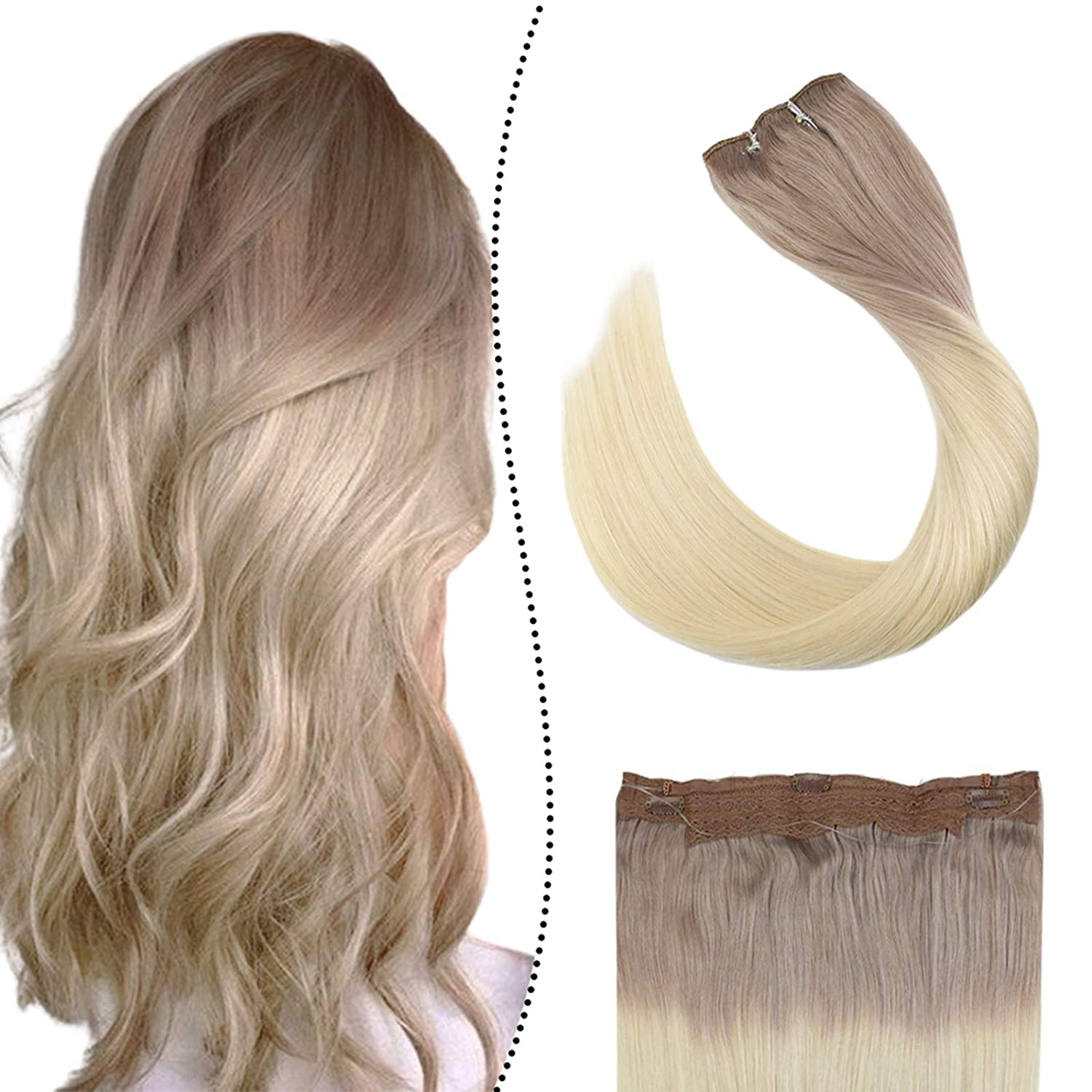 Ugeat Halo Popular popular Ranking TOP19 Hair Extensions Seamless Blonde Ombre 14Inch Hai
