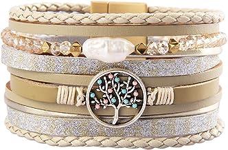 Jeilwiy Leather Boho Bracelets for Women Wrap Bracelets Gorgeous Gold Tube Bangle Handmade Wristbands Jewelry Bohemian Gift for Women,Teen Girls, Mother