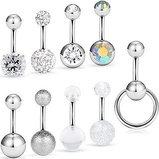 Dyknasz 9Pcs 14G Dangle Short Belly Button Rings Clear Diamond CZ Surgical Steel Navel Barbell Body Jewelry Piercing for Women Girls Bar Length 6mm-10mm