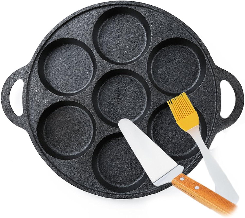 Nadalan Cast Iron Omelette Egg Burger Fried Egg Pot Pancake Pan With 7-Mold Design 32cm Diameter