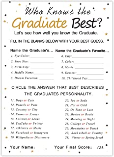 Graduation Party Game Cards - Who Knows The Graduate Best(30PCS) - Graduation Party Collection