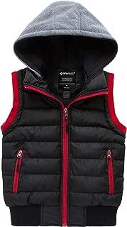 Wantdo Boy's Winter Hooded Puffer Fleece Vest Warm Sleeveless Thick Jacket