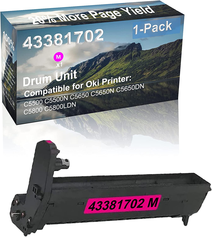 1-Pack (Magenta) Compatible High Capacity 43381702 Drum Unit Used for Oki C5500 C5500N C5650 Printer