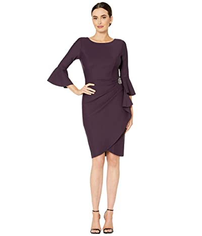 Alex Evenings Short Slimming Dress with Bell Sleeves (Aubergine) Women