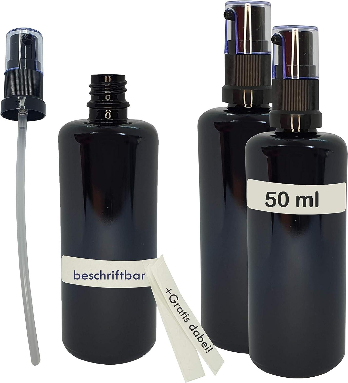 Naturellia - Juego de 3 botellas vacías de cristal violeta de 50 ml, para conservar orgánicos y 6 pegatinas para escribir