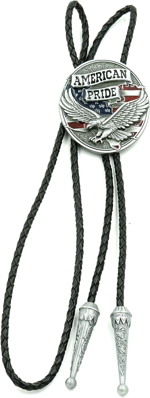 American Pride Eagle Max 83% OFF Enamel Western Mesa Mall Tie Leather Bolo Neck