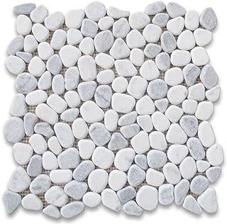 Sponsored Ad - Carrara Mix Bardiglio Grey Marble River Rocks Pebble Stone Mosaic Tile Tumbled