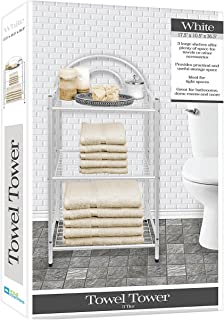 DINY Home Collections Deluxe Spa Tower 3 Tier Towel & Bathroom Accessory Rack White