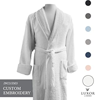 Luxor Linens - Terry Cloth Bathrobes - 100% Egyptian Cotton - Luxurious, Soft, Plush Durable Set of Robes (1 pc, with Custom Monogram and Gift Packaging)