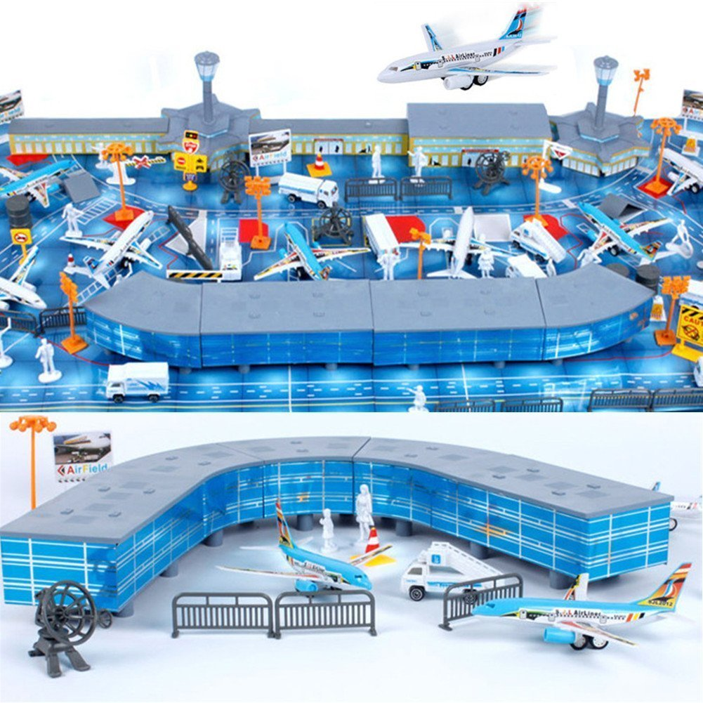 200pcs Airport Playset Airplane Aircraft Models Accessories Assembled Kid Toys