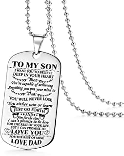 ZXOTTY to My Son I Want You to Believe Love Dad Dog Tag Military Air Force Navy Necklace Ball Chain Gift for Best Son Birthday Graduation Stainless Steel