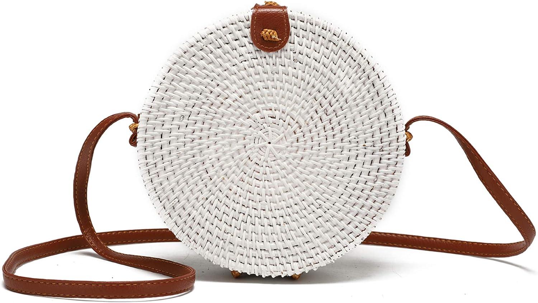 Handwoven Round Rattan Bag for Women with Leather Strap Crossbody Straw Handbag