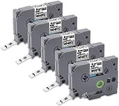 Tze 9mm Tze-221 Tze221 Tz-221 Laminated White Label Tape Compatible for Brother P-Touch PT-D210 PT-D200 PT-D400AD PT-D600 PT-H100 PT-H110 PT-D450 PT-P700 PT-1880 Label Maker, 0.35'' x 26.2', 5-Pack