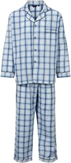 Mens Henley Checked Polycotton Long Pyjama Lounge Wear Set Poly Cotton Soft Material Night Shirt Long Sleeve with Elastica...