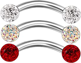 MATIGA 3Pcs Steel 16g 5/16 8mm Curved Barbell Piercing Jewelry Rook Cartilage Tragus Daith Eyebrow 3mm Ferido Crystal More Choices