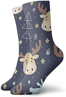 Cute Deer Head Fashion Unisex Classics Calcetines tobilleros Medias atléticas 30cm Crew Sock