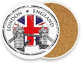 British London England Grunge Stamp with Flag Nostalgic National Graphic Scarlet Navy Blue Light Grey Ceramic Coaste Glass Cup Holder Coffee Mug Place Mats for Drinks Pack Of 1