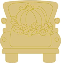 Fall Truck Design by Lines Cutout Unfinished Wood Fall Decor Truck Door Hanger MDF Shape Canvas Style 1 (12