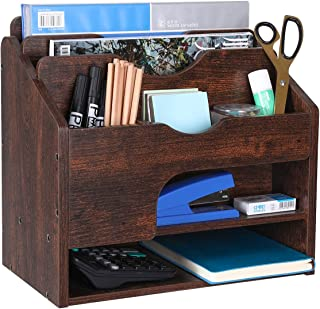 $38 » Denozer 7 Compartment Vintage Rustic Wood Desk Organizer with Drawer for Office Home